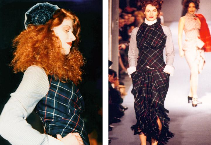 Outfit Stadtausflug mit Bluse und Überkleid aus der Tartan Kollektion mit Kleidungsstücken nach teilweise historischen Originalschnitten