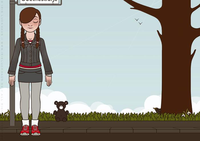 Characterdesign und Hintergründe von einem schlecht gelaunten Mädchen für das Buch Tiny Lily