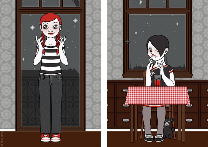 Zeichnungen von Vampirmädchen Violetta beim Trinken von Blut bei Mitternacht für ein unheimliches Jugendbuch