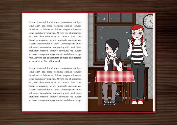 Mockup des Jugendbuchs Violetta mit einer Zeichnung von Vampirmädchen beim Trinken von Blut bei Mitternacht