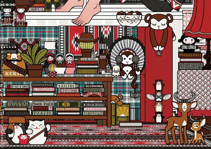 Ausschnitt mit Figuren aus Illustration von Lily Lux als Mädchen auf Zimmerreise in den Wilden Westen mit Büchern, Cowboy-, Cowgirl- und Indianerfiguren, für Anthologie Hugh! Winnetou für Edition 52