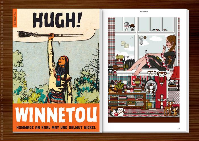 Anthologie Hugh! Winnetou für Edition 52 mit Illustration von Lily Lux als Mädchen auf Zimmerreise in den Wilden Westen mit Büchern, Cowboy-, Cowgirl- und Indianerfiguren