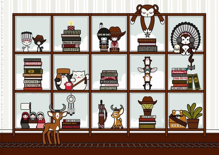 Figuren und Details für die Illustration von Lily Lux'  Zimmerreise in den Wilden Westen für die Anthologie Hugh! Winnetou mit Cowboy und Cowgirl, Indianer, Squaw und Häuptling, Kaktee, Eisenbahn, Sheriff und Bandit