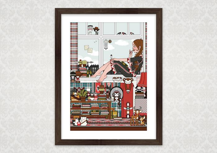 Gerahmte Illustration für die Ausstellung Hugh! Winnetou von Lily Lux als Mädchen auf Zimmerreise in den Wilden Westen mit Büchern, Cowboy-, Cowgirl- und Indianerfiguren