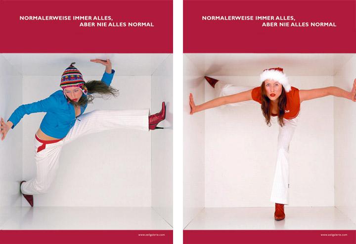 Styling im Winter und Weihnachts Look für Werbeplakate für die Zeilgalerie und ihre Modeläden in Frankfurt