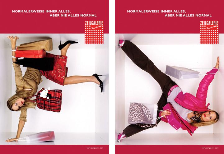 Styling mit Tüten, Taschen und Leopardenmuster für Werbeplakate für die Zeilgalerie und ihre Modeläden in Frankfurt