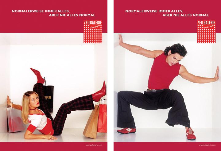 Styling in Rot-Weiß-Gold für Werbeplakate für die Zeilgalerie und ihre Modeläden in Frankfurt