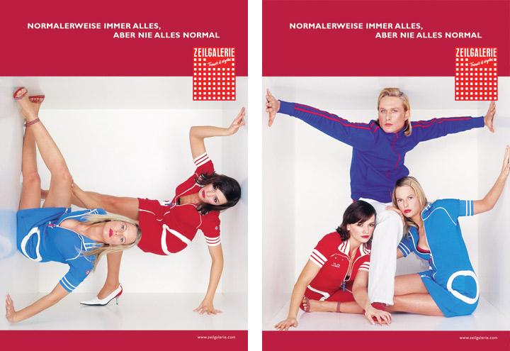 Styling mit Partnerkleidchen für Werbeplakate für die Zeilgalerie und ihre Modeläden in Frankfurt