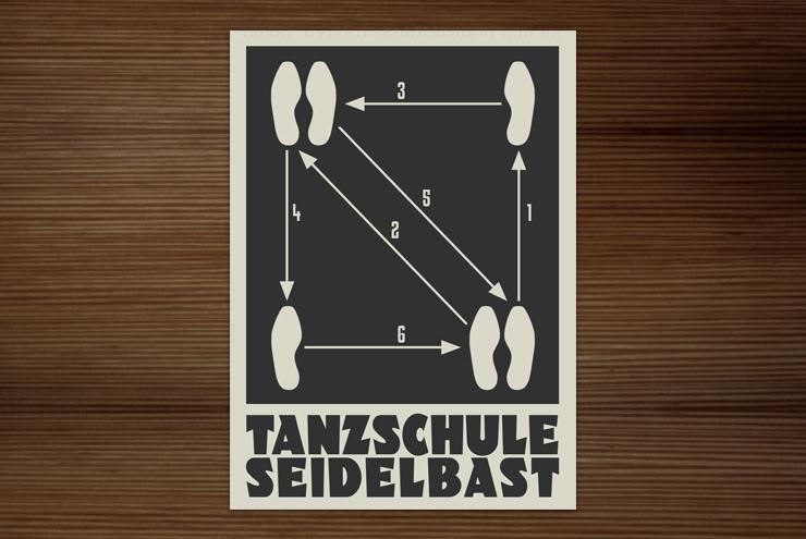 Infografik im Retro-Look der Tanzschule mit einer einfachen Anleitung zum Walzerschritt