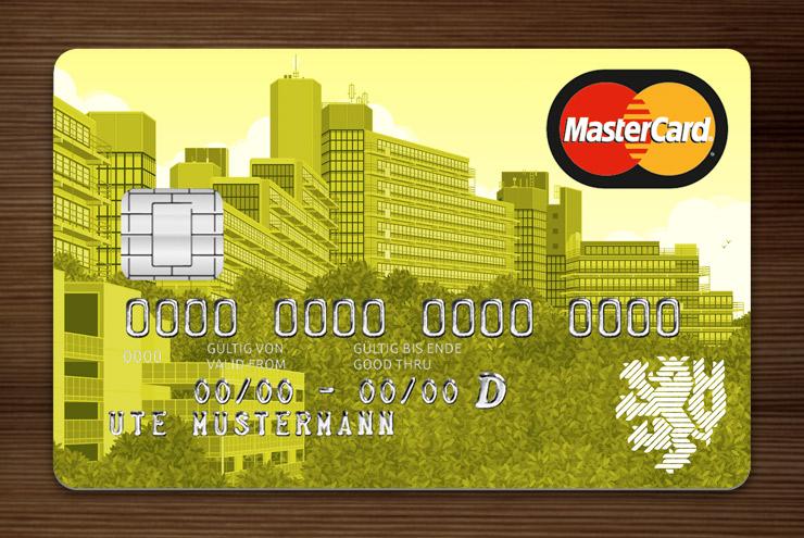 Gelb getönte MasterCard mit Ansicht der Gebäude am Grifflenberg für die Mitarbeiter der Uni Wuppertal, BUGH, von der Stadtsparkasse