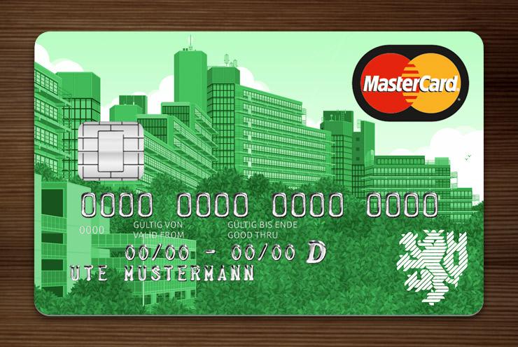 Grün getönte MasterCard mit Ansicht der Gebäude am Grifflenberg für die Mitarbeiter der Uni Wuppertal, BUGH, von der Stadtsparkasse