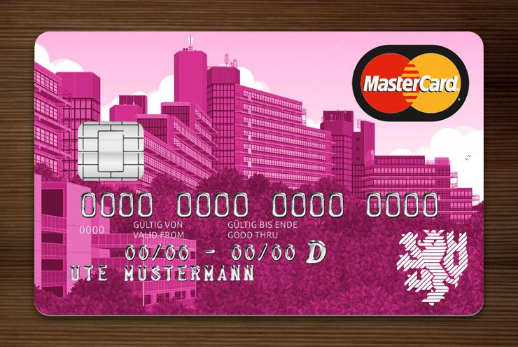 Violett getönte MasterCard mit Ansicht der Gebäude am Grifflenberg für die Mitarbeiter der Uni Wuppertal, BUGH, von der Stadtsparkasse