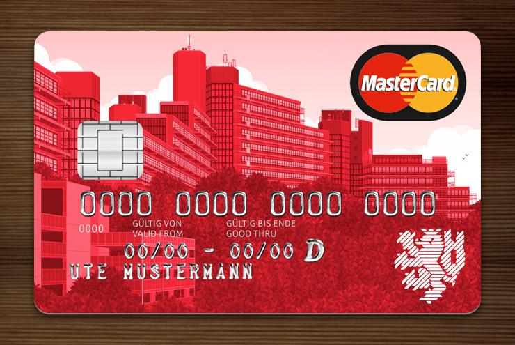 Rot getönte Graue MasterCard mit Ansicht der Gebäude am Grifflenberg für die Mitarbeiter der Uni Wuppertal, BUGH, von der Stadtsparkasse