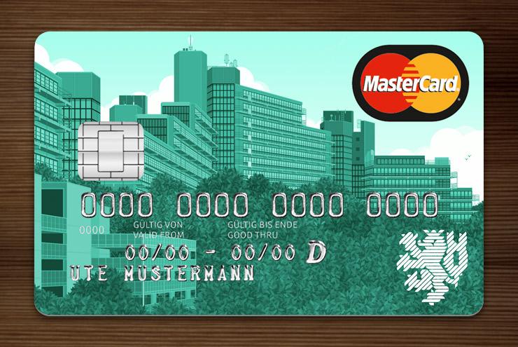 Türkis getönte Graue MasterCard mit Ansicht der Gebäude am Grifflenberg für die Mitarbeiter der Uni Wuppertal, BUGH, von der Stadtsparkasse