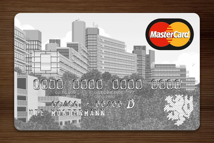 Hellgrau getönte Graue MasterCard mit Ansicht der Gebäude am Grifflenberg für die Mitarbeiter der Uni Wuppertal, BUGH, von der Stadtsparkasse