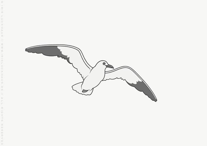 Vignette mit einer Möwe zur Illustration des Jugendbuchs Lillesang von Nina Blazon