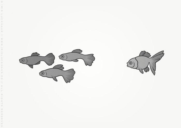 Vignette mit Goldfischen zur Illustration des Jugendbuchs Lillesang von Nina Blazon