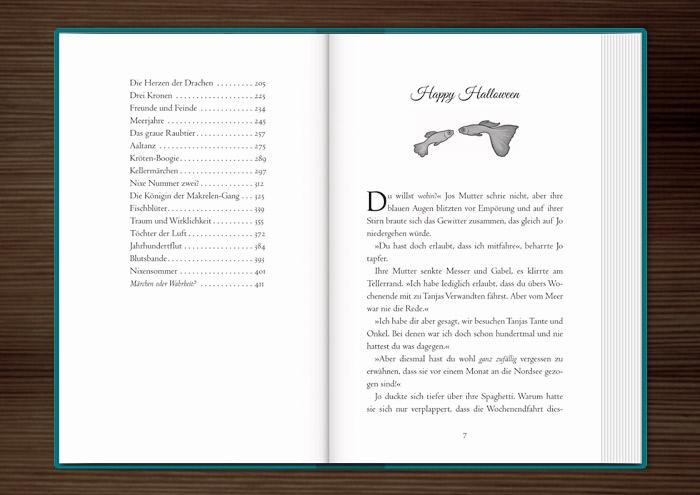 Vignette mit zwei freundlichen Goldfischen zur Kapitelillustration des Jugendbuchs Lillesang von Nina Blazon