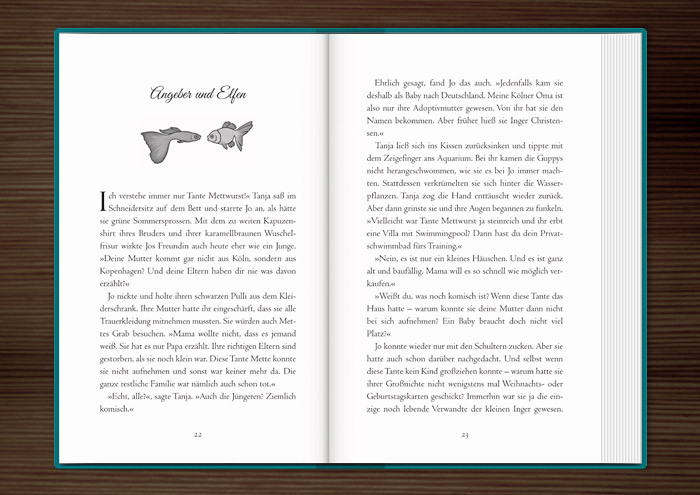 Vignette mit freundlichen Goldfischen zur Kapitelillustration des Jugendbuchs Lillesang von Nina Blazon