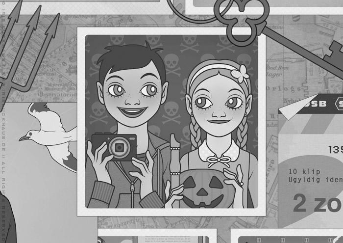 Gezeichnetes Schwarzweiß-Foto von Freundinnen mit Kürbiskopf und Fledermäusen zu Halloween für das Vorsatzblatt des Buchs Lillesang von Nina Blazon