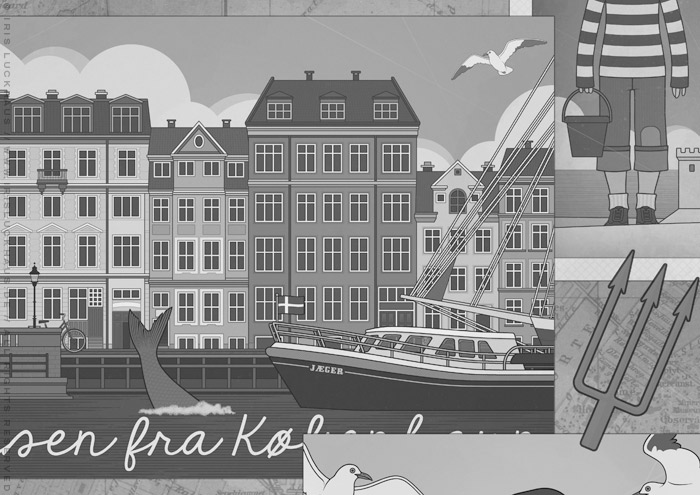 Gezeichnete Postkarte mit einer Ansicht von Kopenhagen für das Vorsatzblatt des Jugendbuchs Lillesang von Nina Blazon