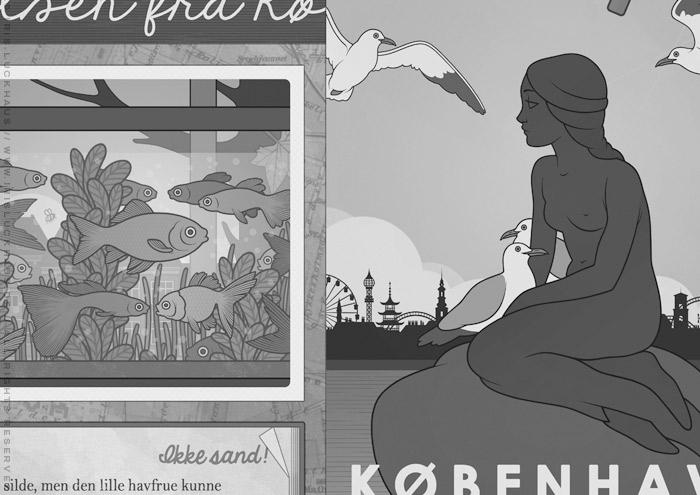 Gezeichnetes Schwarzweiß-Foto von einem Aquarium mit Fischen, das im Fenster steht, für das Vorsatzblatt des Jugendbuchs Lillesang von Nina Blazon