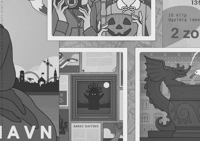 Böse Geister und Brunnen auf dem Vorsatzblatt für das Jugendbuch Lillesang von Nina Blazon