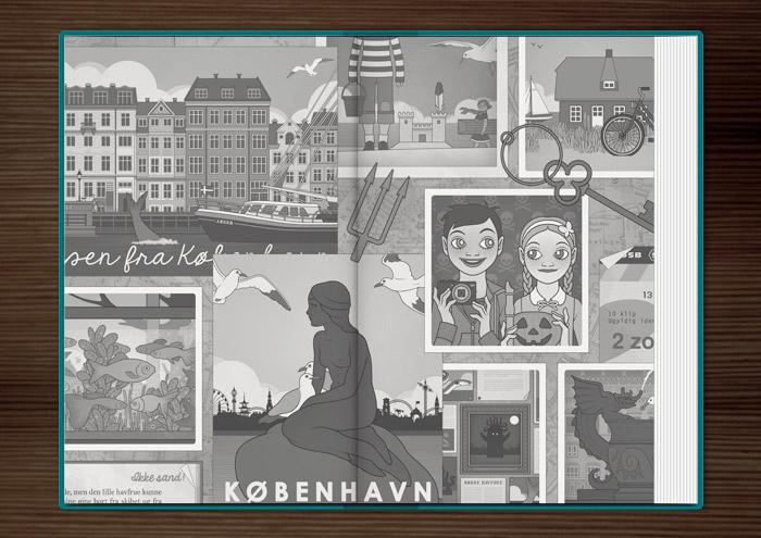 Scrapbook-Illustration mit Meerjungfrau, Kopenhagen und Fischen für das Vorsatzblatt des Jugendbuchs Lillesang – Das Geheimnis der dunklen Nixe von Nina Blazon