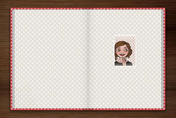 Passbild von Lily Lux auf dem Vorsatzblatt vom Lily Lux Notizbuch