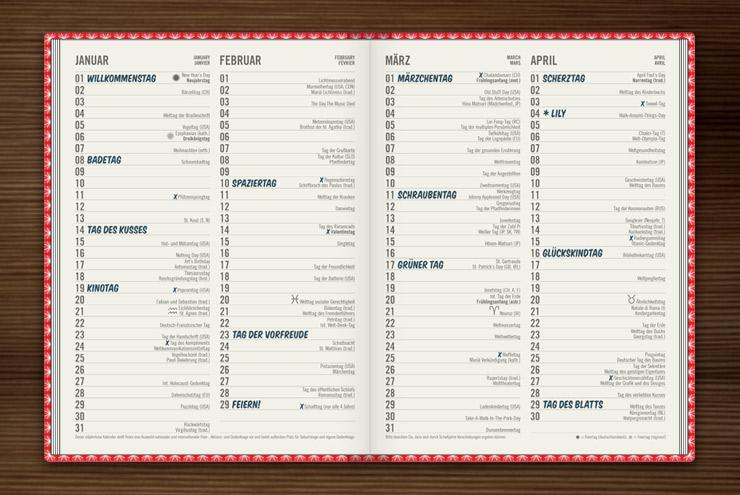 Feiertagskalender mit 365 Feiertagen und Platz für eigene Feiertage im Lily Lux Notizbuch