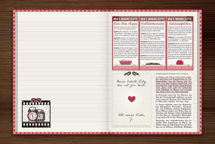 Ideen und Rezepte zum Valentinstag im Lily Lux Notizbuch