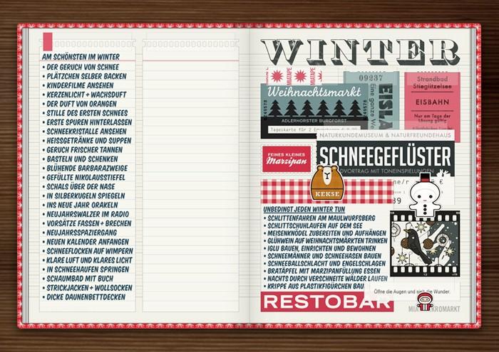 Sammelalbum für Winter mit Eintrittskarten, Passfotos, Aufklebern, Rechnungen und Zettelchen im Lily Lux Notizbuch von Iris Luckhaus und Matthias Klesse