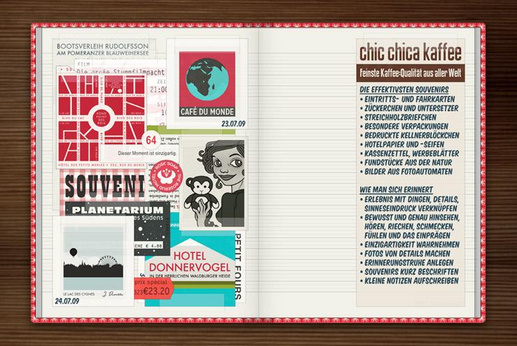 Sammelalbum mit Souvenirs von Reisen wie Landkarten, Streichholzbriefchen, Zuckertütchen, Eintrittskarten und Passbildern im Buch Lily Lux Notizbuch