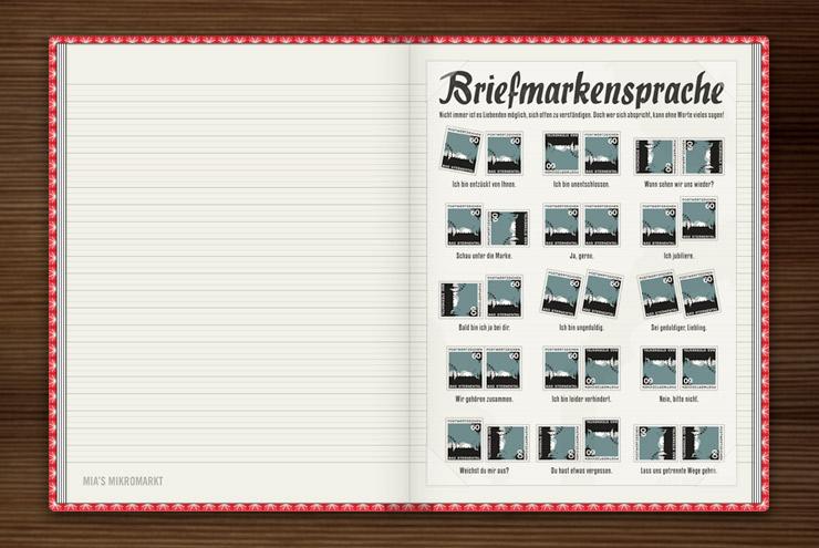 Grafische Anleitung zur Briefmarkensprache, einem geheimen Code für Liebende, im Lily Lux Notizbuch