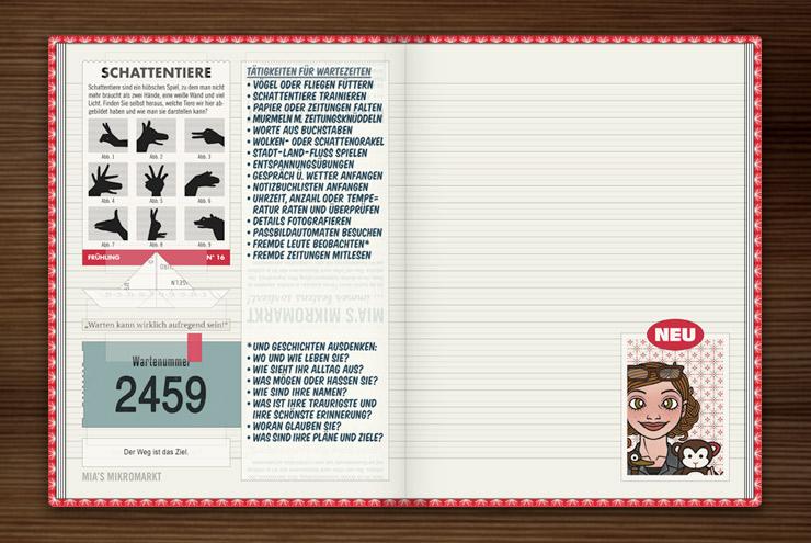 Anleitungen für kleine Spiele wie Schattentiere oder Leutegucken, um Wartezeiten zu verkürzen, im Lily Lux Notizbuch
