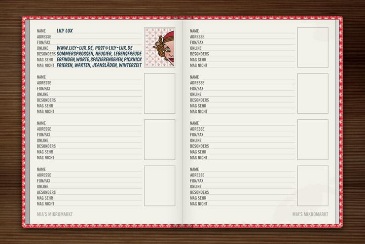 Seiten zum Eintragen von Adressen, Telefonnummern, Email und persönlichen Besonderheiten im Lily Lux Notizbuch