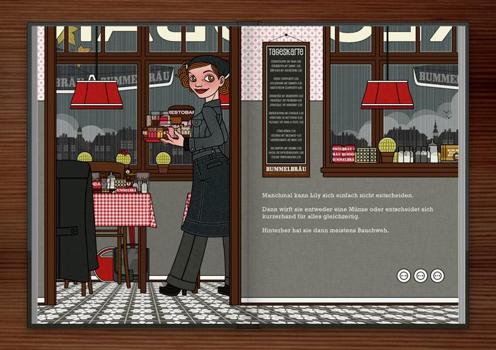 Illustration von einem Mädchen mit Entscheidungsproblemen, das ein Restaurant besucht und dann einfach alles nimmt, im Buch Die wunderbare Welt der Lily Lux