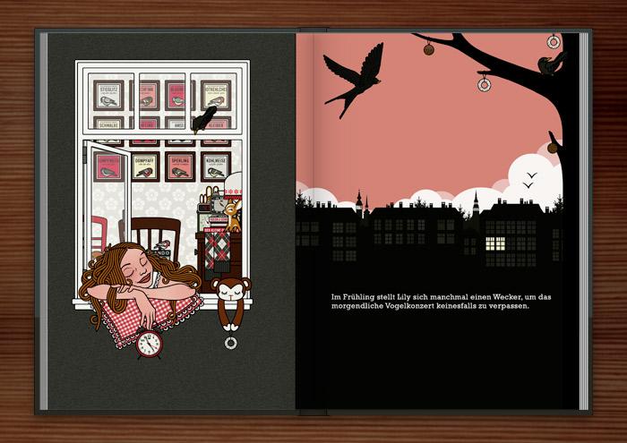 Mädchen mit Wecker liegt auf dem Fensterbrett und lauscht einem Vogelkonzert an einem Frühlingsmorgen, aus dem Buch Die wunderbare Welt der Lily Lux