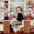 Handzeichnetes und handgemaltes Selbstbildnis der Illustratorin, Grafikerin und Designerin Iris Luckhaus bei der Arbeit in ihrem Büro in Wuppertal