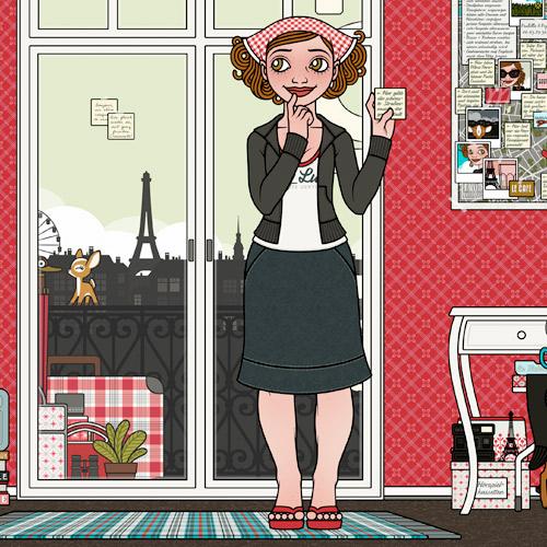 Lily Lux beim Finden und Notieren ihrer eigenen Sehenswürdigkeiten im Hotelzimmer in Paris