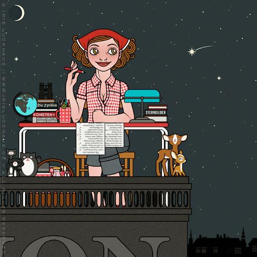 Lily Lux beim Abhaken von Wünschen, die sie sich für Sternschnuppennächte vorher aufgeschrieben hat