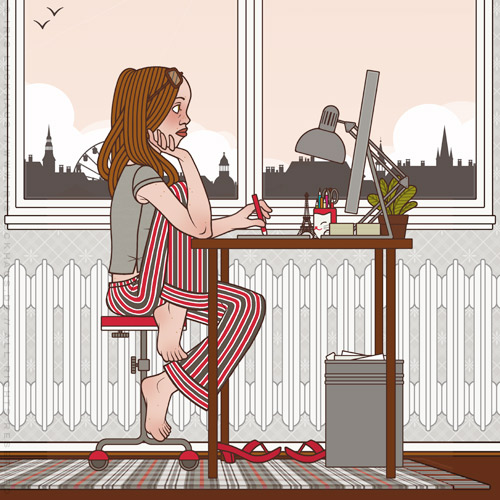 Selbstbildnis der Illustratorin, Grafikerin und Designerin Iris Luckhaus am Morgen bei der Arbeit in ihrem Büro in Wuppertal