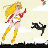 Superheldin Barbararella für das Barbara Magazin