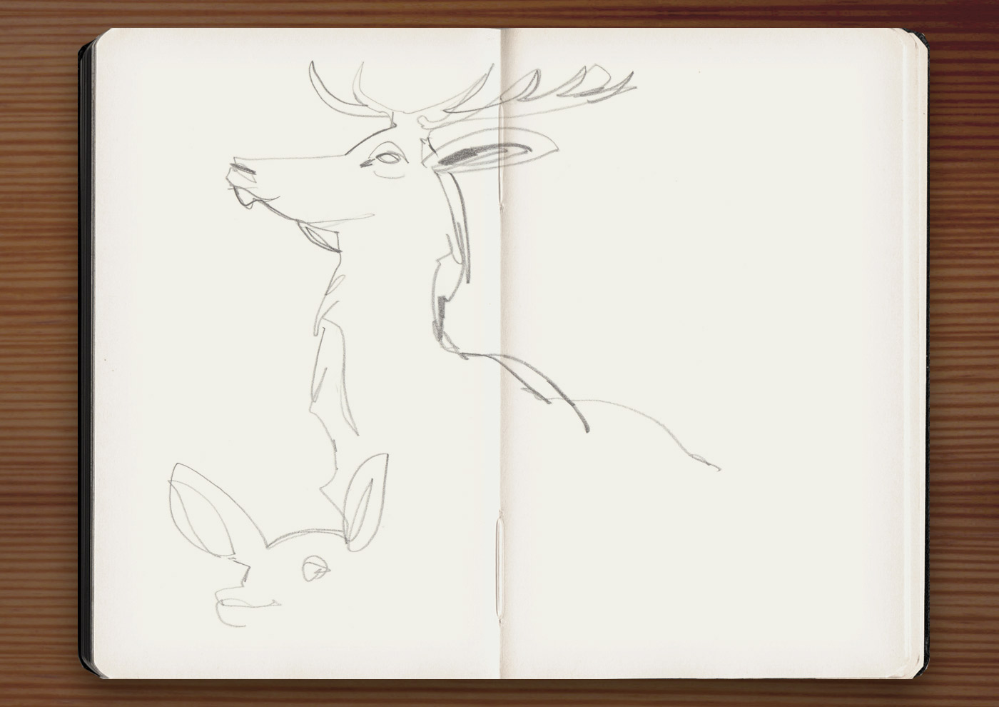 Skizzen der Skulpturen von Hirschen im Jardin du Luxembourg in Paris