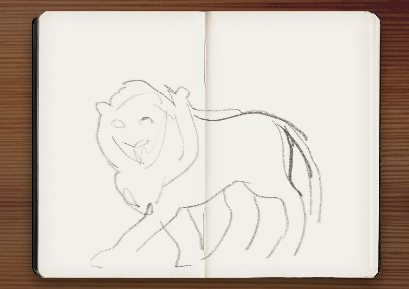Skizzen der Skulpturen von Löwen im Jardin du Luxembourg in Paris