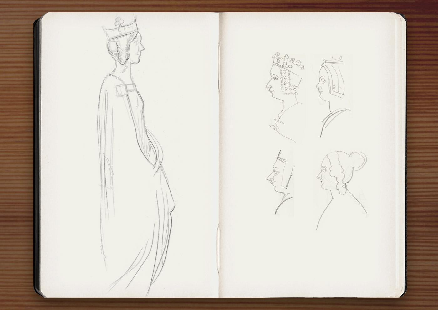 Skizzen der Skulpturen der französischen Königinnen im Jardin du Luxembourg in Paris