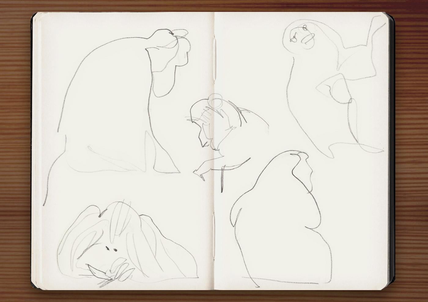Skizzen von Affen in der Ménagerie, dem Zoo des Jardin des Plantes, in Paris
