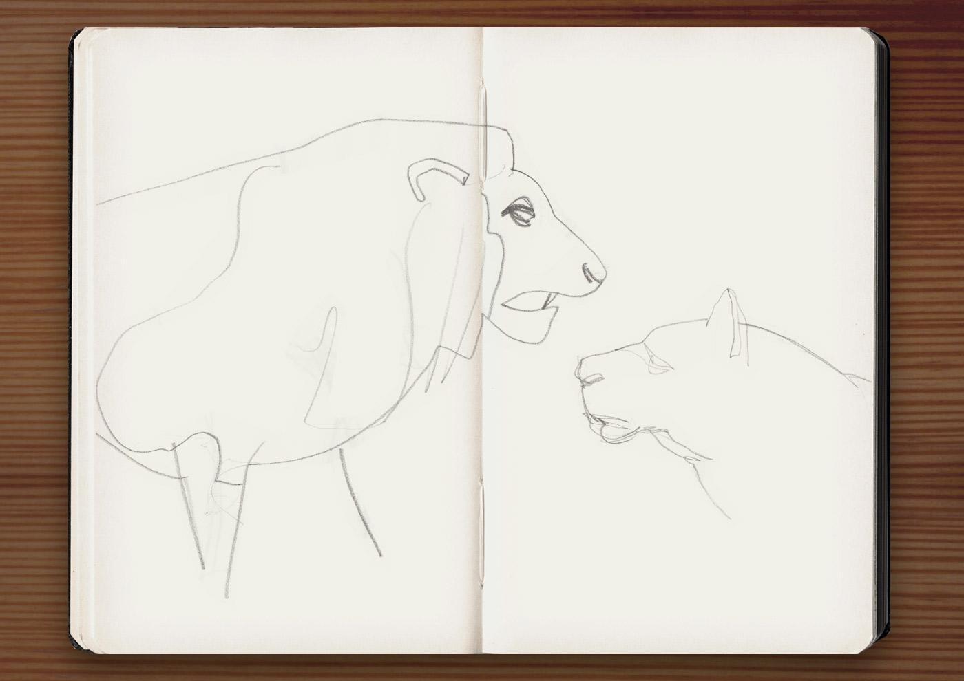 Skizzen von Löwen in der Ménagerie, dem Zoo des Jardin des Plantes, in Paris