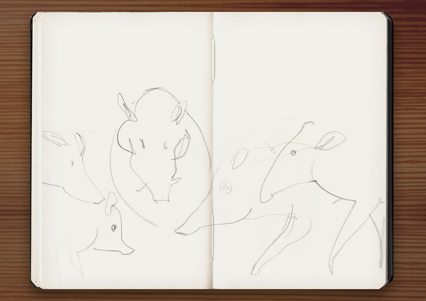 Skizzen von Schweinen in der Ménagerie, dem Zoo des Jardin des Plantes, in Paris