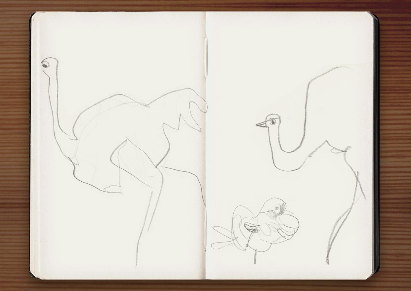 Skizzen von Vögeln und Straußen in der Ménagerie, dem Zoo des Jardin des Plantes, in Paris